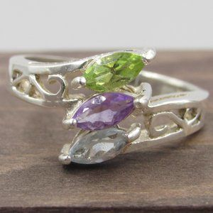 Size 7 Sterling Silver Amethyst Peridot Topaz Band